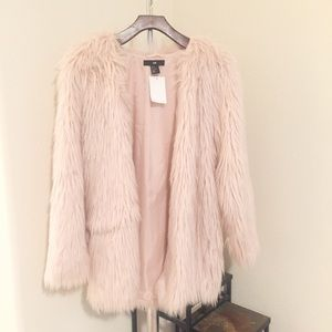 Light Pink Faux Fur Jacket.